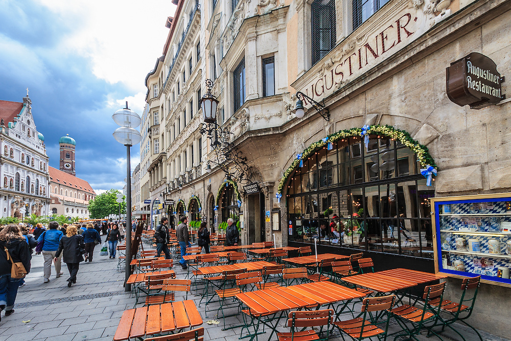 Augustiner restaurant in Munich, Germany. Augustiner is the oldest brewery in Munich and the one and the only bierstube for locals. The first documentation of an Augustiner monk brewery appeared in 1328.