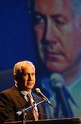 שר האוצר ביבי נתניהו נואם בטקס סיום הגי איי של התאחדות הקהילות היהודיות..צילום פלאש 90..19.11.03