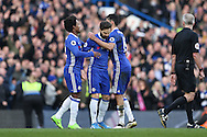 Cesc Fabregas of Chelsea © 'celebrates' after scoring his sides 3rd goal with Diego Costa of Chelsea and Willian of Chelsea. Premier league match, Chelsea v Arsenal at Stamford Bridge in London on Saturday 4th February 2017.<br /> pic by John Patrick Fletcher, Andrew Orchard sports photography.