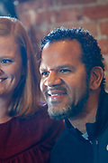 SHOT 12/10/17 11:53:33 AM - Former Buffalo Bills wide receiver and Hall of Fame player Andre Reed signs autographs and meets with fans at LoDo's Bar and Grill in Denver, Co. as the Buffalo Bills played the Indianapolis Colts that Sunday. Reed played wide receiver in the National Football League for 16 seasons, 15 with the Buffalo Bills and one with the Washington Redskins. (Photo by Marc Piscotty / © 2017)