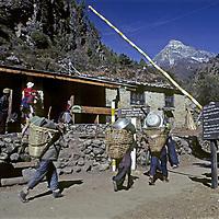 NEPAL, HIMALAYA.  Trekkers & porters at entrance station to Sagarmatha (Mount Everest) National Park in Jorsale village.