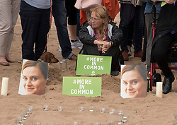 Portobello resident and former colleague of murdered MP Jo Cox, Kim Wallace, organised a tribute event on Portobello beach at which locals were invited to remember Jo and to light candles for her.<br /> <br /> <br /> © Jon Davey/ EEm