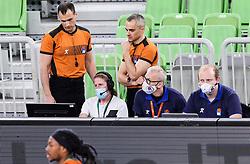 Referees Uros Nikolic and Saso Petek during basketball match between KK Cedevita Olimpija (SLO) and KK Zadar (CRO) in Round #22 of ABA League 2020/21, on January 30, 2021 in Arena Stozice, Ljubljana, Slovenia.  Photo by Vid Ponikvar / Sportida