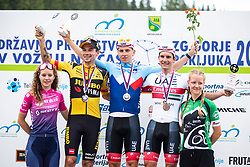 Primoz Roglic, Jan Polanc and Winner Tadej Pogacar duringg ceremony of Slovenian Road Cycling Championship in time trial 2020 on June 28, 2020 in Zg. Gorje - Pokljuka, Slovenia. Photo by Peter Podobnik / Sportida.