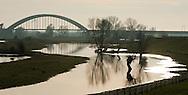 Nederland, Houten, 17jan 2012.Rivier de Lek tussen Houten en Culemborg..Uiterwaarden met spoorbrug aan de einder. Foto (c): Michiel Wijnbergh..
