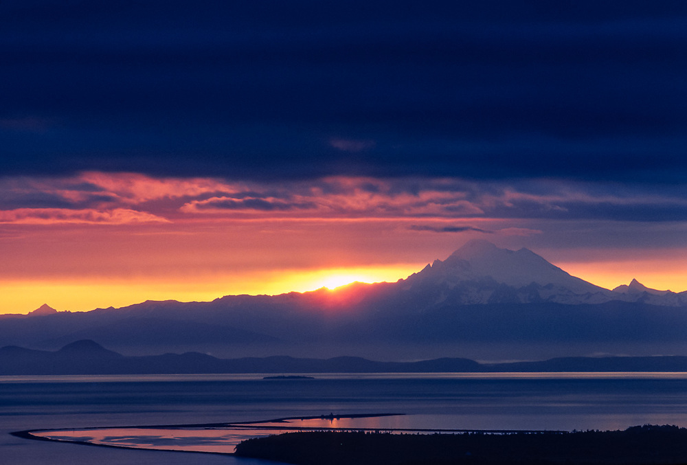 Mount Baker and Salish Sea, sunrise, view from Mount Pleasant, Clallam County, Washington, USA