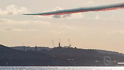 Red Arrows fly past, Edinburgh 24 August 2020; The Red Arrows fly over the River Forth heading towards Edinburgh<br /> <br /> (c) Chris McCluskie | Edinburgh Elite media