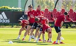 CARDIFF, WALES - Tuesday, September 7, 2021: Wales' Joe Allen, captain Gareth Bale, Chris Gunter, Rhys Norrington-Davies, Jonathan Williams and Ben Davies during a training session at the Vale Resort ahead of the FIFA World Cup Qatar 2022 Qualifying Group E match between Wales and Estonia. (Pic by David Rawcliffe/Propaganda)