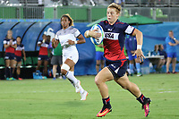 August 08, 2016; Rio de Janeiro, Brazil; USA Women's Eagles Sevens Alev Kelter breaks away for a try against France during the Women's Rugby Sevens 5th Place Play-Off match on Day 3 of the Rio 2016 Olympic Games at Deodoro Stadium. Photo credit: Abel Barrientes - KLC fotos