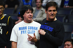 December 20, 2018 - Los Angeles, CA, U.S. - LOS ANGELES, CA - DECEMBER 20: Dallas Mavericks owner Mark Cuban with a fan, who has is dressed like him and has a Mark Cuban fan club t-shirt on during a NBA game between the Dallas Mavericks and the Los Angeles Clippers on December 20, 2018 at STAPLES Center in Los Angeles, CA. (Photo by Brian Rothmuller/Icon Sportswire) (Credit Image: © Brian Rothmuller/Icon SMI via ZUMA Press)