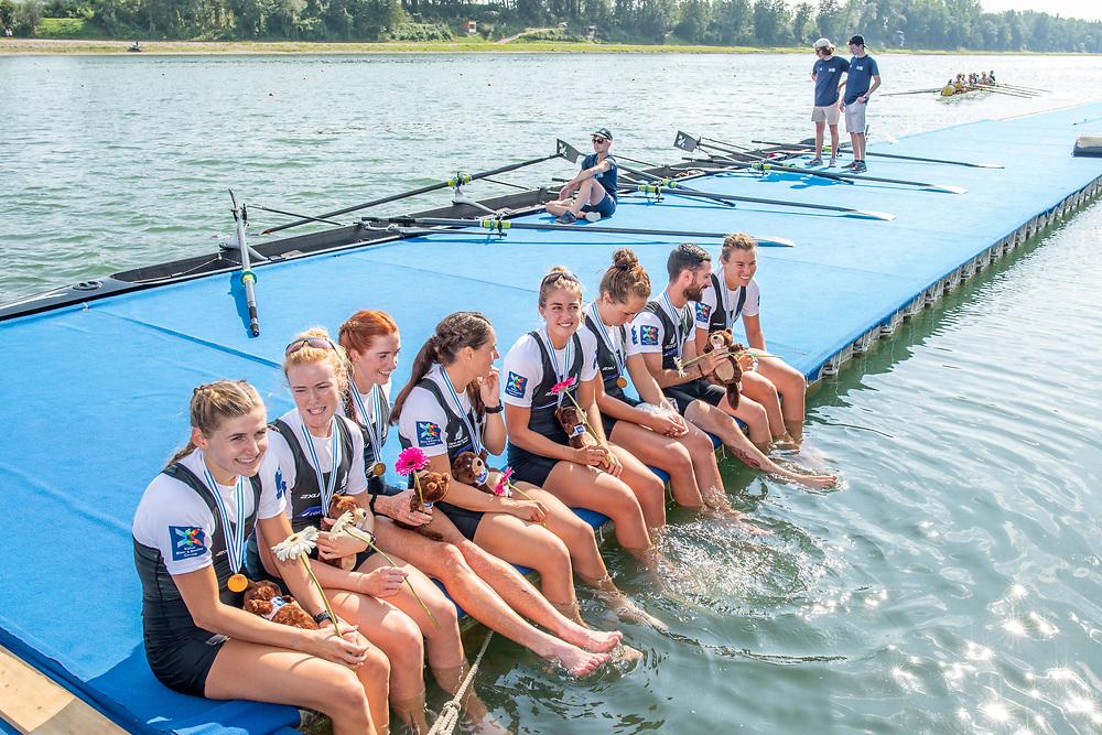 NZ Womens Eight - World Champions 2019<br /> <br /> Jackie Gowler (Aramoho Whanganui RC), Beth Ross (Petone RC), Kerri Gowler (Aramoho Whanganui RC), Grace Prendergast (Avon RC), Kelsey Bevan (Counties-Manukau RC), Lucy Spoors (Canterbury RC), Emma Dyke (Timaru RC), Ella Greenslade (Wairau RC) and Caleb Shepherd (coxswain) (Waikato RC) <br /> <br /> Final races at the World Championships, raced on the Regattastrecke, Linz Ottensheim, Austria. Sunday 1 September 2019  © Copyright photo Steve McArthur / @RowingCelebration www.rowingcelebration.com