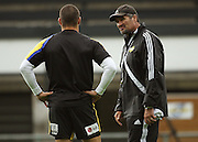 Hurricanes coach Colin Cooper (right) talks to Tamati Ellison.<br /> Super 14 - Hurricanes training session, at Rugby League Park, Newtown, Wellington. Tuesday, 28 April 2009. Photo: Dave Lintott/PHOTOSPORT