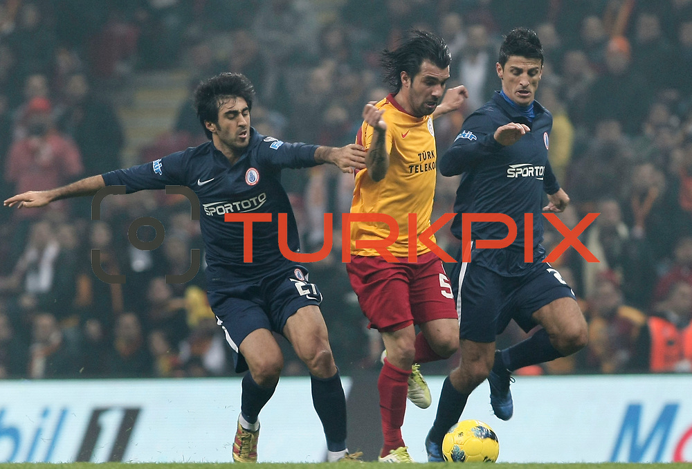 Galatasaray's Engin Baytar (C) during their Turkish Super League soccer match Galatasaray between IBBSpor at the TT Arena at Seyrantepe in Istanbul Turkey on Tuesday, 03 January 2012. Photo by TURKPIX