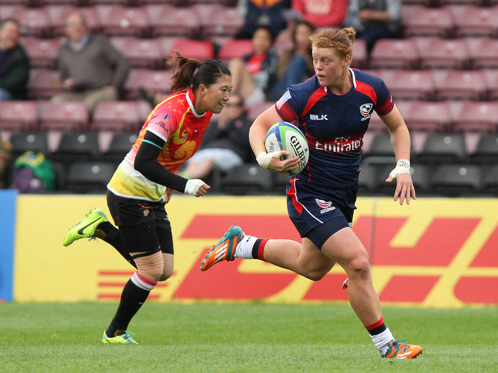 Alev Kelter in action for USA, Women's Sevens World Series - London Leg, The Stoop, Twickenham, London, England, Day 1 on 15th May 2015.