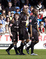Photo: Olly Greenwood.<br />Colchester United v Brentford. Coca Cola League 1. 01/04/2006. Brentfords Jay Tabb celebrates scoring