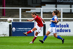 Charlie Wellings of Bristol City Women volleys the ball on an attempt on goal- Mandatory by-line: Will Cooper/JMP - 18/10/2020 - FOOTBALL - Twerton Park - Bath, England - Bristol City Women v Birmingham City Women - Barclays FA Women's Super League