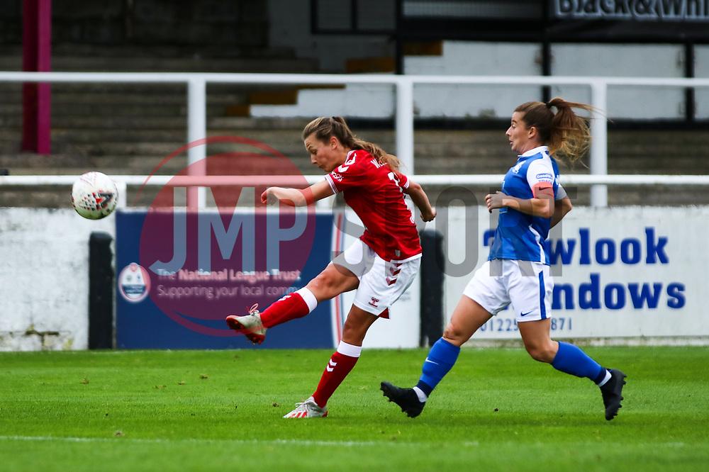 Charlie Wellings of Bristol City Women volleys the ball on an attempt on goal- Mandatory by-line: Will Cooper/JMP - 18/10/2020 - FOOTBALL - Twerton Park - Bath, England - Bristol City Women v Birmingham City Women - Barclays FA Women's Super League
