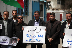 March 27, 2019 - Gaza City, Gaza Strip, Palestinian Territory - Palestinians take part in a protest to solidarity with Palestinian Prisoners held in Israeli jails, in front of the high commissioner for human rights headquarters, in Gaza city on March 27, 2019  (Credit Image: © Mahmoud Ajjour/APA Images via ZUMA Wire)