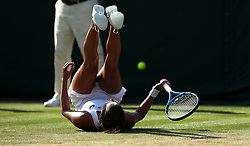 Julia Goerges celebrates her win against Barbora Strycova on day five of the Wimbledon Championships at the All England Lawn Tennis and Croquet Club, Wimbledon.