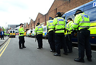 Police arrive before the match . EFL Skybet championship match, Aston Villa v Birmingham city at Villa Park in Birmingham, The Midlands on Sunday 23rd April 2017.<br /> pic by Bradley Collyer, Andrew Orchard sports photography.