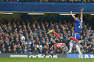 Sadio Mane of Southampton with a bicycle kick attempt at goal. Barclays Premier league match, Chelsea v Southampton at Stamford Bridge in London on Sunday 15th March 2015.<br /> pic by John Patrick Fletcher, Andrew Orchard sports photography.