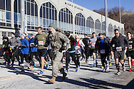 West Point, New York - Runners and walkers take off at the start of the West Point Half-Marathon Fallen Comrades Run at the United States Military Academy on March 29, 2015.