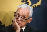 Ambassado Paul Nitze at a press briefing on the Soviet Strategic Defense System ..Photograph by Dennis Brack  bb26