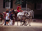 Carraige ride along  Duke of Gloucester Street, Colonial Williamsburg, the restored eighteenth century capital of Virginia.