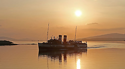 Waverley is one of the world's greatest historic ships – the last sea-going paddle steamer in the world. Seen here returning to Oban as the sunsets behind her after a days cruise to Armadale. (c) Stephen Lawson | Edinburgh Elite media