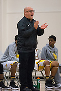 Mission Bears head coach Arnold Zelaya coaches from the sideline during the Fukushima Invitational at Independence High School in San Jose, Calif., on December 7, 2016. (Stan Olszewski/Special to S.F. Examiner)