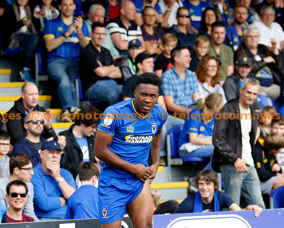 AFC Wimbledon's Dominic Poleon seen during the Sky Bet League 1 match between AFC Wimbledon and Shrewsbury Town at the Cherry Red Records Stadium in Kingston. September 24, 2016.<br /> Carlton Myrie / Telephoto Images<br /> +44 7967 642437