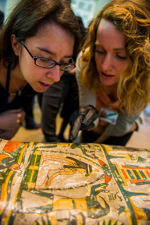 The British Museum reveals new findings relating to her cause of death of the Ancient Egyptian priestess 'Tamut' (pictured on the case with black hair)whose burial reveals the highest level of mummification at this time. Based on state-of-art scanning and visualisation technology of the mummy. The public will be able to see more mummies and new discoveries made about them at the forthcoming exhibition 'Ancient lives, new discoveries' (which opens May 22) at the British Museum. Sponsored by Julius Baer, Technology Partner: Samsung  Other objects relating to Ancient Egyptian burial will also be shown including a Roman-period wooden toy horse, a bronze razor from the 18th Dynasty, a musical instrument (an arched sistrum), an amulet from the 26th Dynasty, and a basketry dish of woven palm leaf with two loaves of unleavened bread. British Museum, Great Russell Street, London, UK.