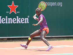 October 15, 2019, Lagos, Nigeria: Sada Nahimama of Burundi in action against Brazilian Laura Pigossi (not in picture) during the women's single final of Lagos Open in Lagos, Nigeria, on 14th October 2019. Burundian Sada Nahimana has won her first ITF_Tennis title.  (Credit Image: RealTime Images)