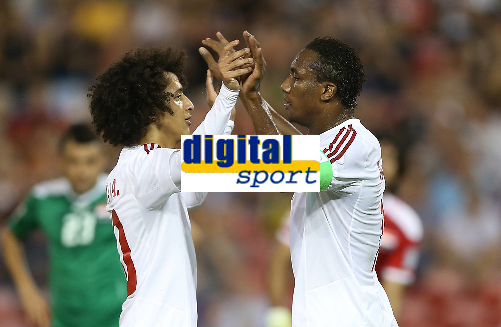 Fotball<br /> Asia Cup / Asiamesterskapet<br /> 30.01.2015<br /> Bronsefinale<br /> Irak v Forenede Arabiske Emirater<br /> Foto: imago/Digitalsport<br /> NORWAY ONLY<br /> <br /> Ahmed Khalil (R) of the United Arab Emirates celebrates for his goal with his assist and teammate Omar Abdulrahman during the third and fourth final match against Iraq at the 2015 AFC Asian Cup in Newcastle, Australia, Jan. 30, 2015
