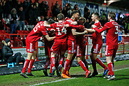 Goal celebration by Accrington players during the The FA Cup 3rd round match between Accrington Stanley and Ipswich Town at the Fraser Eagle Stadium, Accrington, England on 5 January 2019.