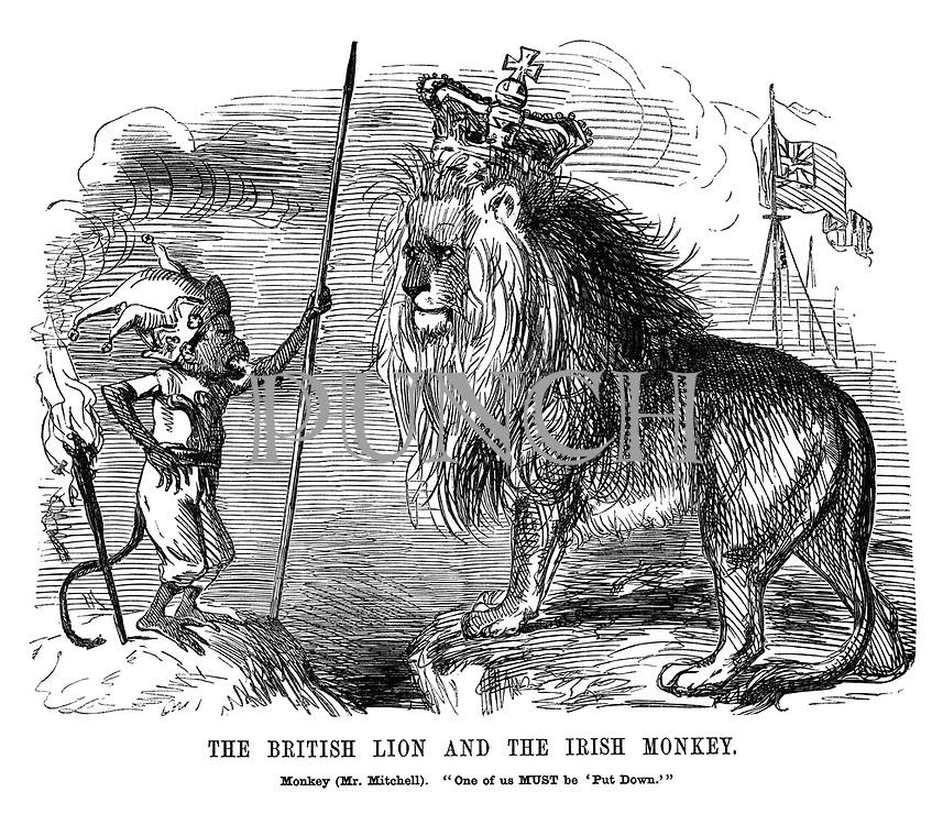 "The British Lion and The Irish Monkey. Monkey (Mr. Mitchell). ""One of us MUST be 'Put Down.'"""