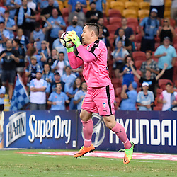BRISBANE, AUSTRALIA - FEBRUARY 3: Danny Vukovic of Sydney controls the ball during the round 18 Hyundai A-League match between the Brisbane Roar and Sydney FC at Suncorp Stadium on February 3, 2017 in Brisbane, Australia. (Photo by Patrick Kearney/Brisbane Roar)