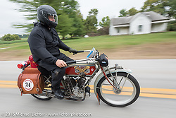 Kelly Modlin of Kansas riding his 1914 Excelsior during the Motorcycle Cannonball Race of the Century. Stage-7 from Springfield, MO to Wichita, KS. USA. Friday September 16, 2016. Photography ©2016 Michael Lichter.