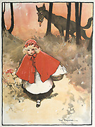 Little Red Riding Hood on her way to her grandmother's observed by a sinister, leering wolf. Illustration by Tom Browne (1872-1910) for the fairy tale. Published 1900