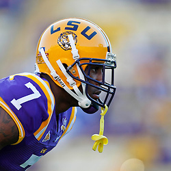 October 16, 2010; Baton Rouge, LA, USA; LSU Tigers cornerback Patrick Peterson (7) during warm ups prior to kickoff of a game against the McNeese State Cowboys at Tiger Stadium.  Mandatory Credit: Derick E. Hingle