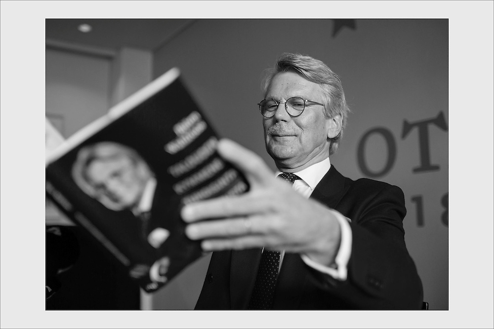 Banking tycoon Björn Wahlroos signing autographs at the launch of his book, The Ten Worst Economic Theories. Helsinki, March 25, 2015.