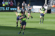 Ross Byrne of Leinster © shows his delight after he kicks a late drop goal to win the match. Guinness Pro12 rugby match, Ospreys v Leinster Rugby at the Liberty Stadium in Swansea, South Wales on Saturday 8th April 2017. <br /> pic by Andrew Orchard, Andrew Orchard sports photography.