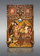 Gothic altarpiece tableau of the Archangel Gabriel  by Joan Mates of Vlafranca de Penedes, circa 1410-1430, tempera and gold leaf on for wood from the church of Santa Maria de Penafel, Alt Penedes, Spain.  National Museum of Catalan Art, Barcelona, Spain, inv no: MNAC  214533. . .<br /> <br /> If you prefer you can also buy from our ALAMY PHOTO LIBRARY  Collection visit : https://www.alamy.com/portfolio/paul-williams-funkystock/gothic-art-antiquities.html  Type -     MANAC    - into the LOWER SEARCH WITHIN GALLERY box. Refine search by adding background colour, place, museum etc<br /> <br /> Visit our MEDIEVAL GOTHIC ART PHOTO COLLECTIONS for more   photos  to download or buy as prints https://funkystock.photoshelter.com/gallery-collection/Medieval-Gothic-Art-Antiquities-Historic-Sites-Pictures-Images-of/C0000gZ8POl_DCqE