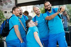 Miha Zupan, Matic Makuc, Lukas Mord, Jurij Koderman and Peter Rankovic of Slovenian deaf team making selfie before departure to 23rd Summer Deaflympics in Samsun, Turkey, on July 14, 2017 at Airport Joze Pucnik, Brnik, Slovenia. Photo by Vid Ponikvar / Sportida