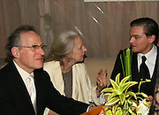 Michael Mann, his wife & Leonardo Di Caprio.**EXCLUSIVE**.2005 Golden Globe Awards Miramax Post Party.Beverly Hilton Hotel.Beverly Hills, CA, USA.Sunday, January, 16, 2005.Photo By Selma Fonseca Celebrityvibe.com, New York, USA, Phone 212-410-5354, email:sales@celebrityvibe.com...