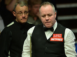 John Higgins at the table in his match against Martin Gould on day four of the Betfred Snooker World Championships at the Crucible Theatre, Sheffield.