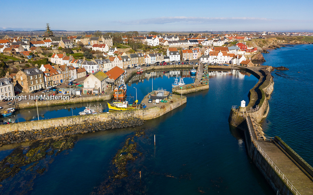 Aerial view from drone of harbour at Pittenweem fishing village in East Neuk of Fife, Scotland, UK