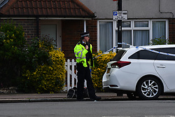 © Licensed to London News Pictures. 27/04/2020.  London UK:  Met detectives launch a murder investigation after a male in his twenties was stabbed in Freemasons road, Canning Town in East London. Paramedics rushed the victim to hospital where he later died , Photo credit: Steve Poston/LNP