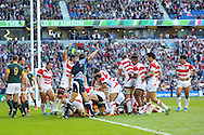 Japan players celebrate a try by Japan's Captain Michael Leitch during the Rugby World Cup Pool B match between South Africa and Japan at the Community Stadium, Brighton and Hove, England on 19 September 2015. Photo by Phil Duncan.
