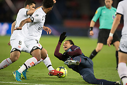 Neymar Jr of Paris Saint-Germain in action with Cedric Yambere of Dijon FCO during the Ligue 1 match between  Paris Saint Germain and Dijon FCO at the Parc des Princes in Paris, FRANCE on January 17, 2017.Paris Saint Germain won Dijon FCO with 8-0 (Credit Image: © Jack Chan/Chine Nouvelle/Xinhua via ZUMA Wire)
